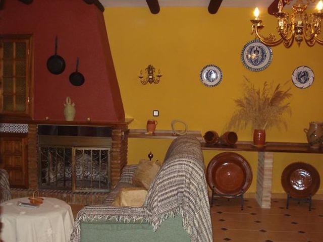 Salón con sofá cama y chimenea